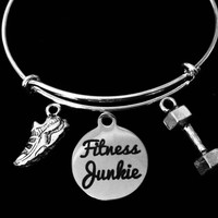 Fitness Junkie Adjustable Silver Charm Bracelet Expandable Wire Bangle Trendy One Size Fits All Gift  Exercise Runner Weight Lifting