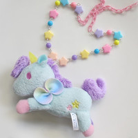 Fantasy Pastel Cotton Candy Blue Unicorn Rainbow Stars Necklace Kawaii Harajuku Cute Unicorn Horse Mascot Pendant