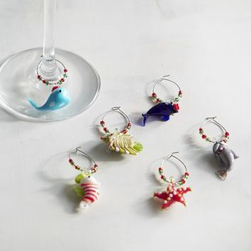 Yule Tides Coastal Wine Charm Set