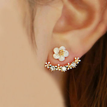 Korean Fashion Imitation Pearl Earrings Small Daisy Flowers Hanging
