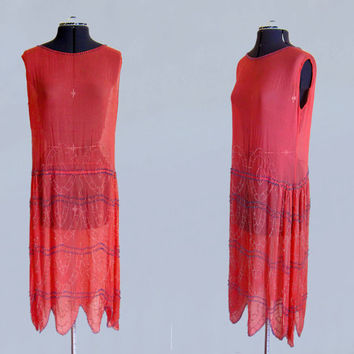 1920s Dress / Authentic Flapper Dress Heavily BEADED Coral Pink Silk Chiffon
