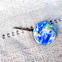 Earth hair clip, Planet Earth bobby pin, Universe jewelry, Map hair clip, Map jewelry, World map jewelry, Christmas gift