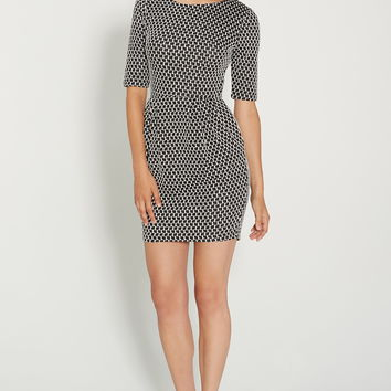 patterned dress in textured fabric with pockets
