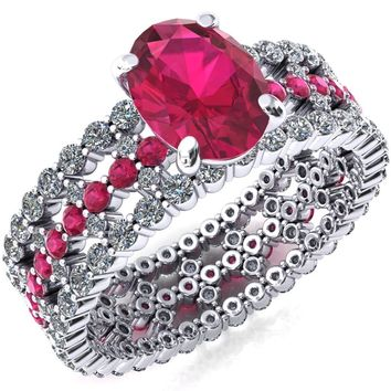 Lacy Oval Ruby Full Eternity Ruby  and Diamond Accent Ring