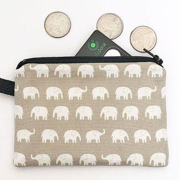 Elephant kids zip purse, mini travel zip pouch, little coin purse, small zipper pouch, padded change purse - white elephants in beige