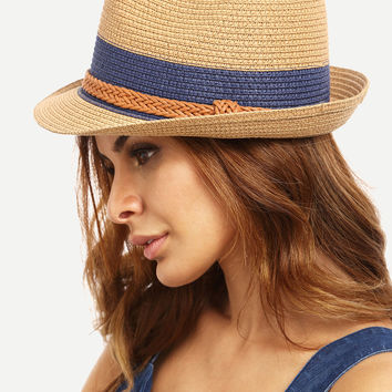 Braided Trim Straw Bowler Hat [6240904836]