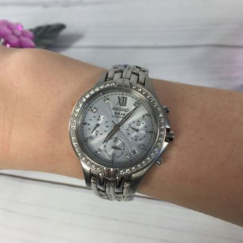 Seiko Solar Excelsior Chronograph Silver Dial Stainless Steel Ladies Watch (Preloved)