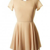 LOVE Sandstone Chiffon Open V Back Dress - Love