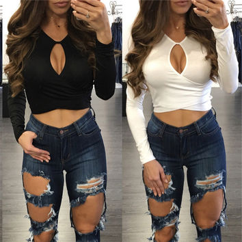 Fashion Female Solid Color Half Open Chest Hollow Long Sleeve Tops Crop Top