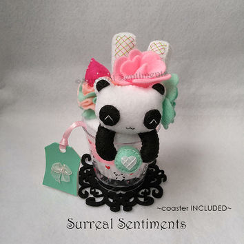 Vanilla Strawberry Mint Panda Parfait, Felt Panda, Felt Dessert, Felt Sweets, Fairy Kei, Kawaii Plush Dessert, Cute Gifts, Pink and Green