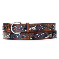Double S Belt Collection Mens Rebel Flag Leather Belt