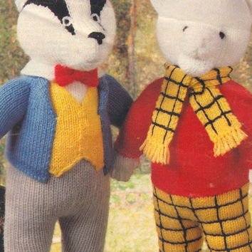 Rupert bear and Bill Badger Toy, Knitting Pattern PDF instant download , Rupert Bear, Bill Badger, from woman's weekly magazine 1995