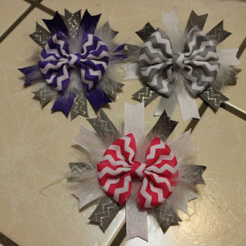 Chevron Boutique Basic Bow/Spikes Hairbows