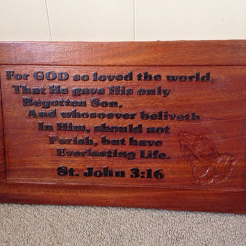 Bible Verse Carved in Wood Christian Wall Plaque St.John 3:16 Scripture Verse Wooden Carved Sign 3d Praying Hands lcww
