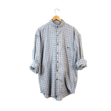 Earl Gray Blue plaid button up Shirt Mens grey Collarless button down pocket shirt Slouchy Minimal long sleeve Blouse Vintage 1990s Medium