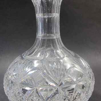 Signed Hawkes Carafe American Brilliant Period hand Cut Glass antique