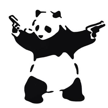 Lovely Panda with Two Guns 3D Car Sticker Automobiles Truck Window Reflective Decal Bumper Funny Cute Animal Stickers Decoration