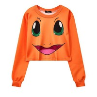 Charmander 3-D Pokemon Printed Women's Crop Top Sweatshirts ONE SIZE