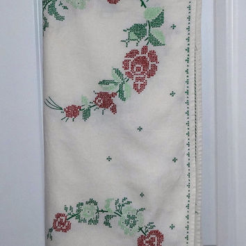 Vintage 1960s Linen Tablecloth with Hand Embroidery Cross Stitch Rose Wreaths