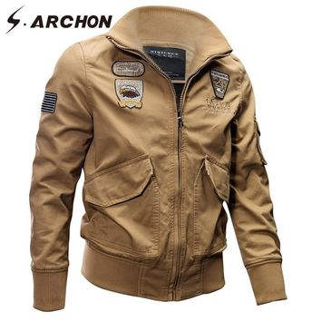 Trendy S.ARCHON Autumn Winter Tactical Army Pilot Jackets Men Airborne Military Flight Outerwear Male US Air Force Bomber Jackets Coats AT_94_13