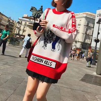 ONETOW Moschino' Women Fashion Multicolor Letter Dairy Cow Pattern Long Sleeve Knitwear Medium Long Section Sweater
