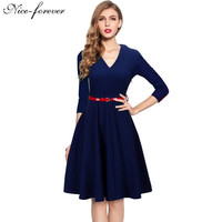 Nice-forever Spring Stylish Charming Elegant Lady dress Women button 3/4 Sleeve Vintage Tunic Party slim Ball Gown Dress a006
