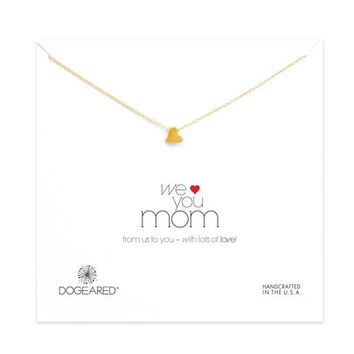 we love you mom heart bead necklace, gold dipped - Dogeared