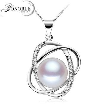 YOUNOBLE Freshwater Pearl Pendant 925 Silver Jewelry,Wedding Real Natural Pearl Pendant Necklace Girl Birthday Best Gift White