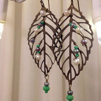 Brass Leaf Earrings with Pearls