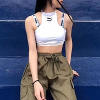 """""""Puma"""" Sport Casual Fashion Sleeveless Letter Bandage Strap Small Vest Fitness Crop Tops"""