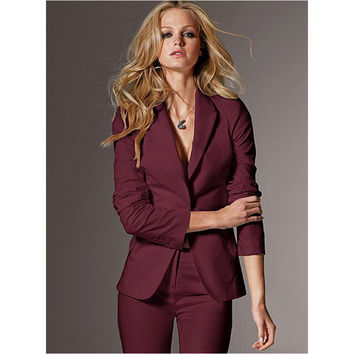 Women Evening Pant Suits Women High Quality Custom Made Wine Slim Suit Office Ladies Work Wear Pants Suits Formal Female 2pcs