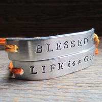 Friendship Bracelet Set of 2 Couples PERSONALIZED Best Friends Custom Hand Stamped Name Tie On Hemp Cord Multiple Words BLESSED