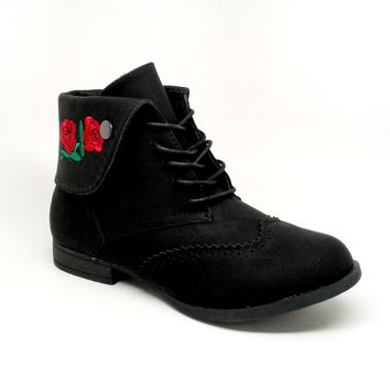 Women's Black Color Lace Up Boot with Flower Embroidery
