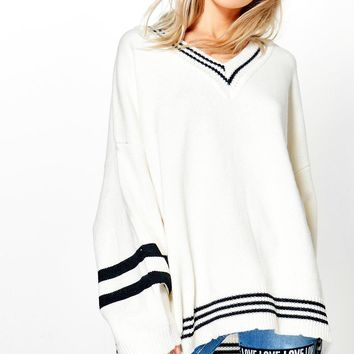 Rosie Oversized Cricket Jumper | Boohoo