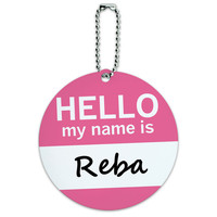 Reba Hello My Name Is Round ID Card Luggage Tag