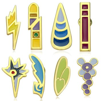 New Arrivel Anime Pokemon Region Gym Badges Gen Gold League Cosplay Toy Enamel Pins Brooches Metal Figure Toys Dress Accessory