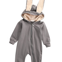 Winter Warm Newborn Baby Girl Boy Rabbit 3D Ear Zipper Hooded Romper Jumpsuit  Outfits Clothes