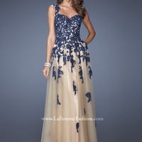 La Femme 19922 Lace Illusion Ball Gown
