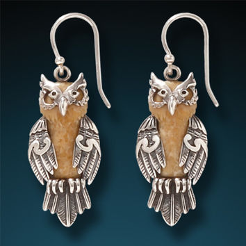 """Wise One"" Fossilized Walrus Tusk and Sterling Silver Earrings"