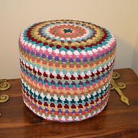 Cottage Granny Square Footstool Pouf Crochet Multicolor Upcycle Recycle
