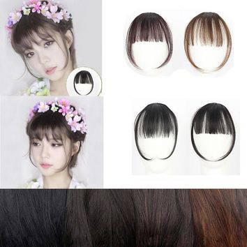 Clip On Clip In Front Hair Bang Fringe Hair Extension Piece Thin
