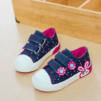 Canvas Children Shoes 2017 New Candy Color Girls Princess Shoes Breathable Denim Girls Sneakers Baby Toddler Shoes