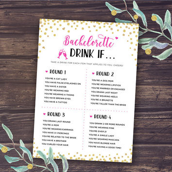 Bachelorette Party Games, Drink If Game, Printable Bachelorette Games, Hen's Night, Hen Party, Gold, Pink, Black, Drinking, Instant Download