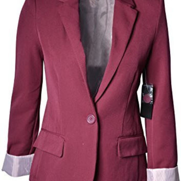 Women's Cuffed Sleeve One Button Boyfriend Blazer