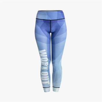 Blue Gradient Elegant Workout Leggings