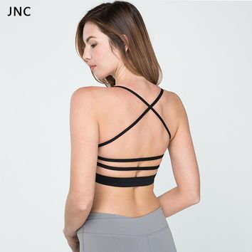 Women Padded Strap Sports Bra Yoga Tops Activewear Workout Clothes for Light Support Cross Back Wirefree Removable Yoga Crop Top