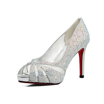 Elegant Wedding shoes with platform Fashion Bling Crystal shoes bridal women sandals p