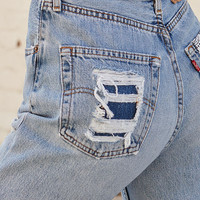 LA.EDIT Bandana Repair Denim Mom Jeans at PacSun.com