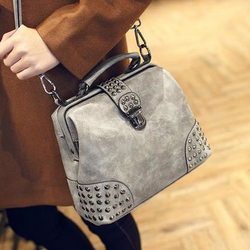 Day-First™ Vintage Gray Leather Studded Crossbody Doctor Bag Shoulder Handbag