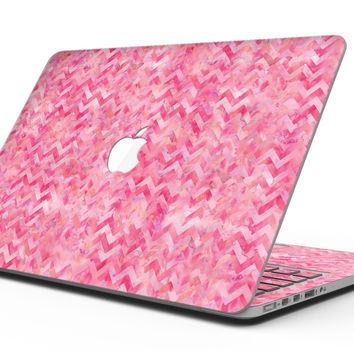Pink Basic Watercolor Chevron Pattern - MacBook Pro with Retina Display Full-Coverage Skin Kit